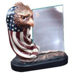 Resin Eagle and Flag with Glass Unique Awards