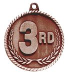 High Relief 3rd Place Medal Volleyball Trophy Awards