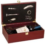 Rosewood Finish Wine Box with Tools and Wine Glasses Wine Gifts