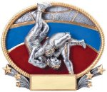 3D Oval Wrestling M Wrestling Trophy Awards